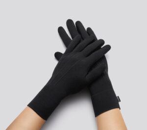 Black cloth gloves, cover past wrist.