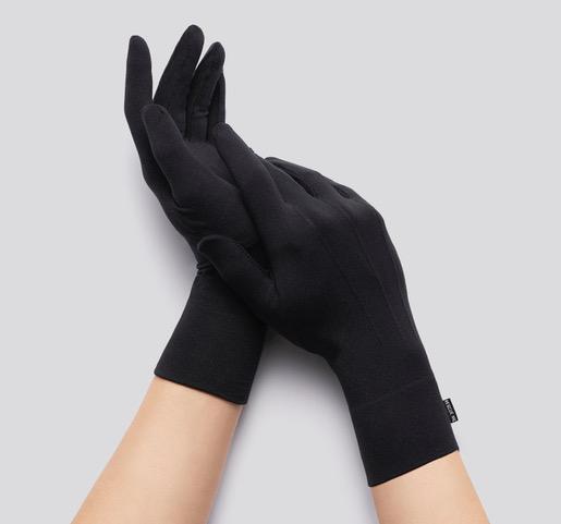 Black cloth gloves