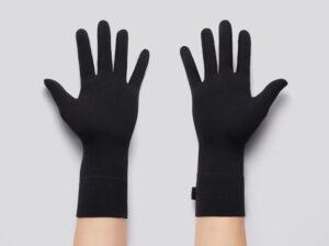 Black cloth gloves, palms side