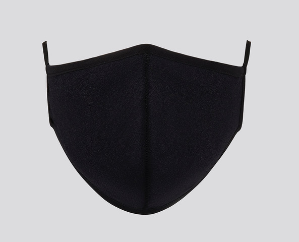 Black Face mask front detail showing center seam